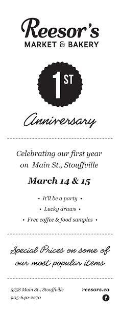 Reesor's Market & Bakery - 1st Anniversary